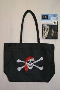 vendor-unknown Pirate Flags (Jolly Roger Flags) Pirate Skull with Red Hat Beach Bag