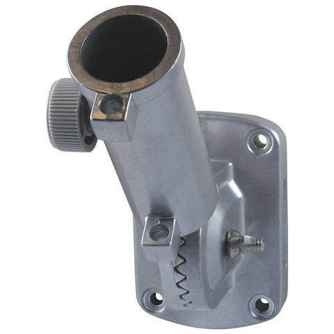 Eder Pole Bracket Aluminum Painted Silver Ultimate Adjustable Bracket - Flat Mounting - White & Silver