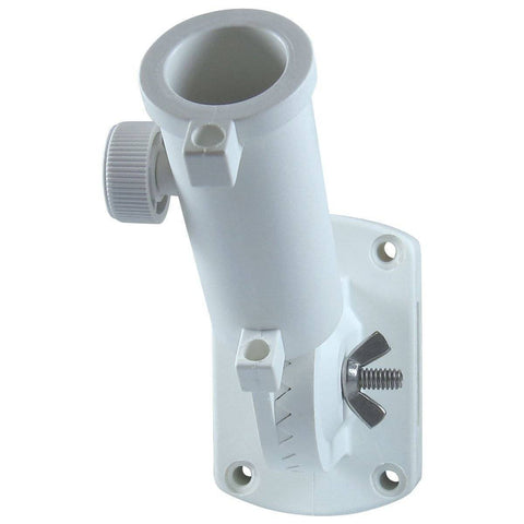 Eder Pole Bracket Nylon White Ultimate Adjustable Bracket - Flat Mounting - White & Silver