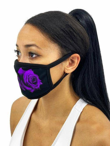 Image of Red Roses Face Mask With Filter Pocket L/xl / Purple