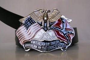 vendor-unknown Rebel Flags & Confederate Flags American By Birth Belt Buckle
