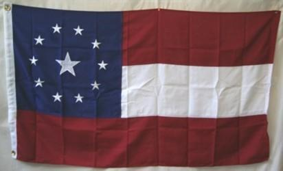 RU Rebel Flags & Confederate Flags Confederate 11 Stars and Bars Stars in the Middle Nylon Embroidered Flag 3 x 5 ft.