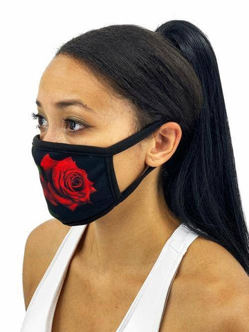 Image of Red Roses Face Mask With Filter Pocket L/xl /