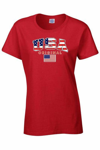 Image of USA Flag T Shirt Women's Juniors Original American Pride