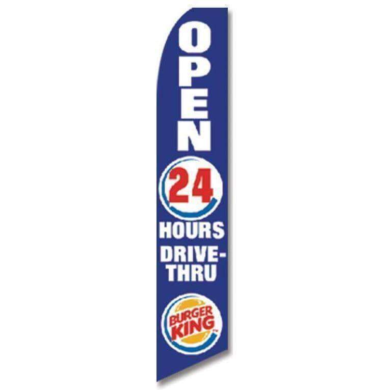 vendor-unknown Search Flags by Quality Blue Burger King Open 24 Hours Advertising Flag (Complete set)