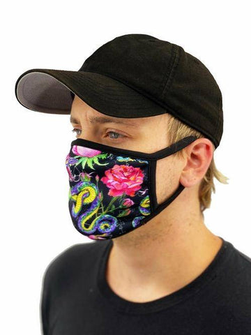 Image of Snakes And Roses Face Mask With Filter Pocket L/xl / Multicolored