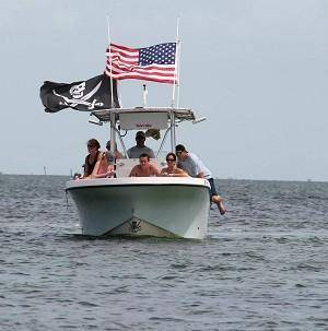 Image of Multiple boat flag poles