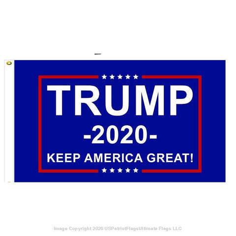 Image of 3X5 Trump 2020 Keep America Great Flag Blue Rough Tex