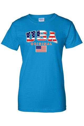 USA Flag T Shirt Women's Juniors Original American Pride