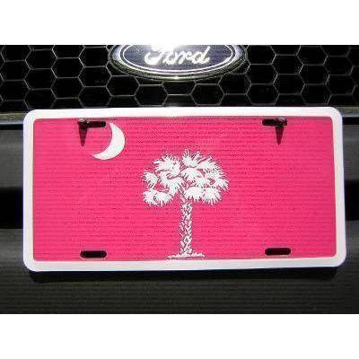 vendor-unknown US State Flags South Carolina Pink License Plate