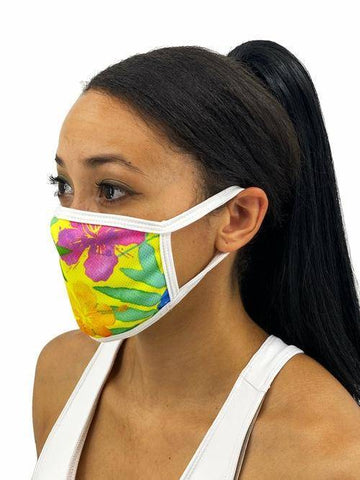 Image of Yellow Mahalo Face Mask With Filter Pocket L/xl / Multicolored Womens Clothing