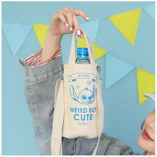 Taiwan Exclusive - Disney Character Canvas Insulated Water Bottle Carrier 2-Way Pouch - Stitch