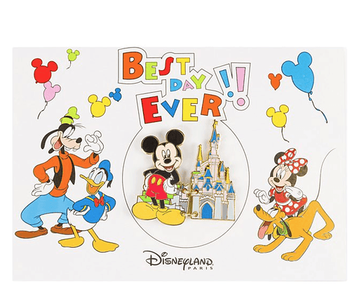 Paris Disneyland - Mickey Mouse Best Day Ever Postcard Pin