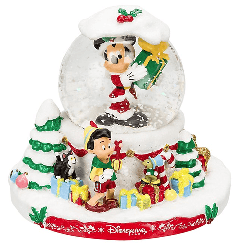 Disneyland Paris - Christmas Snow Globe x Mickey Mouse, Pinocchio, Jiminy Cricket and Figaro