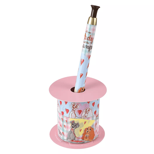 JDS - Retro Check Collection - Lady and the Tramp Ballpoint Pen, Decoration Tape & Stand Set