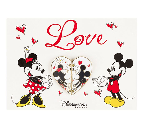 Paris Disneyland - Mickey And Minnie Mouse Postcard Pin