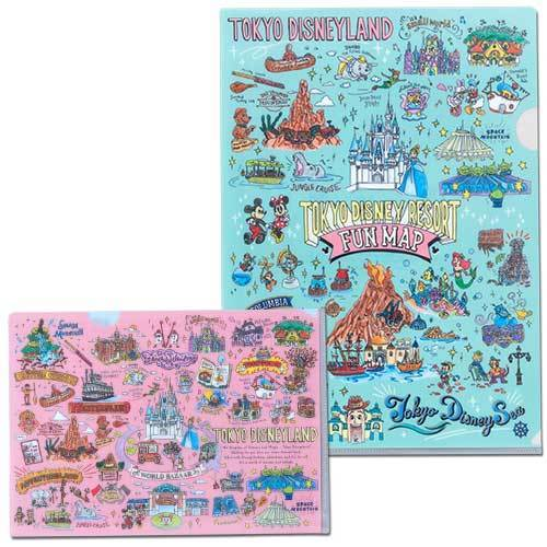 TDR - Tokyo Disney Resort Fun Map Collection - A4 & A5 Size Clear Document Folders Set