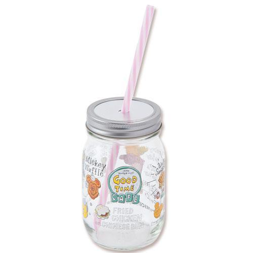 TDR - Food Theme - Glass Mug with Straw