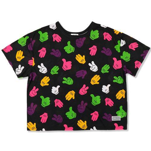 TDR x NiCORON - All-Over-Print Gloves Oversized T-shirt (Black)