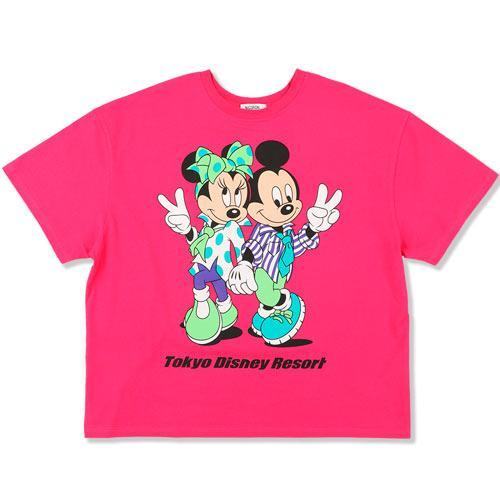 TDR x NiCORON - Graphic Mickey & Minnie Oversized T-shirt (Hot Pink)