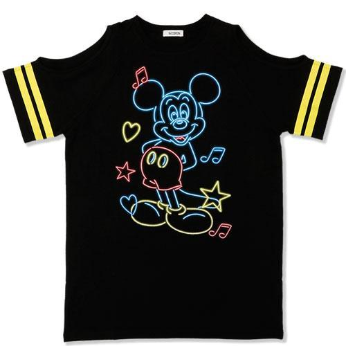 TDR x NiCORON - Graphic Mickey Cold Shoulder T-shirt (Black)