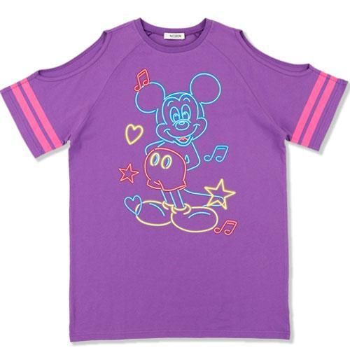 TDR x NiCORON - Graphic Mickey Cold Shoulder T-shirt (Purple)