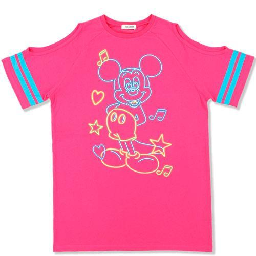 TDR x NiCORON - Graphic Mickey Cold Shoulder T-shirt (Hot Pink)