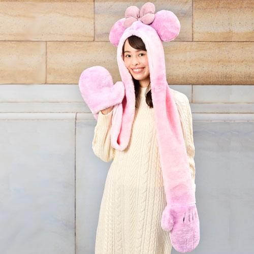 TDR - 3 in 1 Beanie with Long Paw Scarf x Minnie Mouse