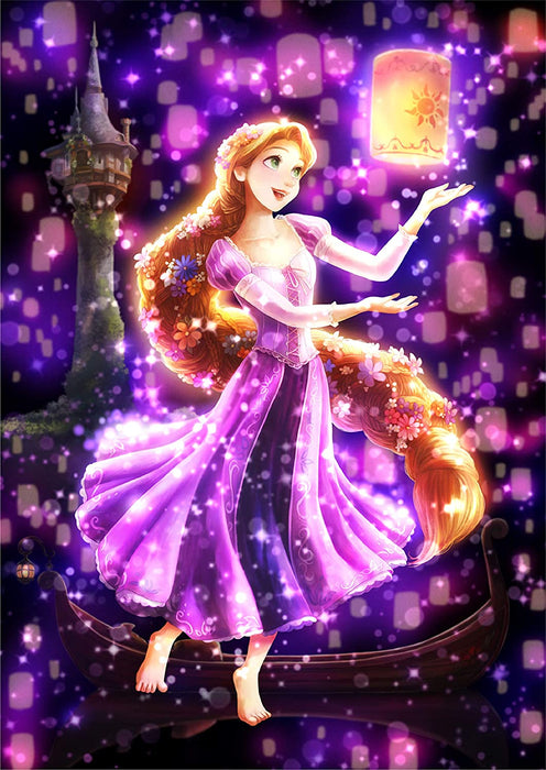 Japan Tenyo - Disney Puzzle - 266 Pieces Tight Series Stained Art - Twinkle Shower x A Dream in the Night Sky (Rapunzel)