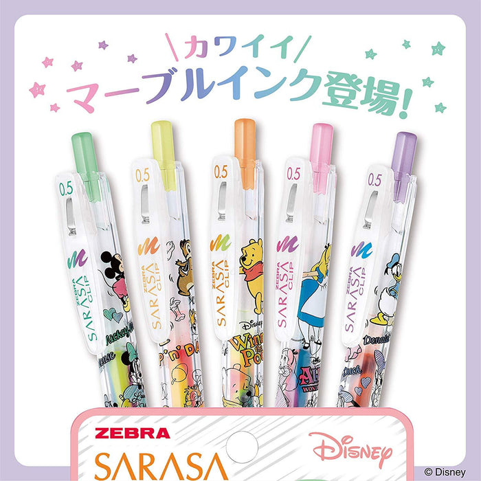 Japan Zebra x Disney - Sarasa Clip Marble Color 0.5mm Ballpoint Pens Set