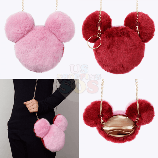 TDR - Fluffy 2 Colors Crossbody Bag - Red & Pink