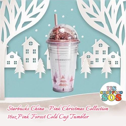 Starbucks China - Pink Christmas - 16oz Pink Forest Cold Cup Tumbler
