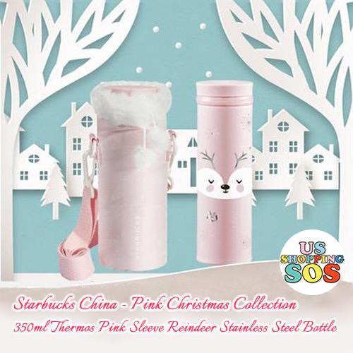Starbucks China - Pink Christmas - 350ml Thermos Pink Sleeve Reindeer Stainless Steel Bottle