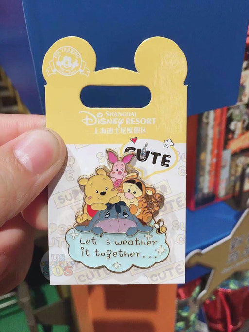 "SHDL - Super Cute Winnie the Pooh & Friends Collection - Pin ""Let's Weather it Together"""