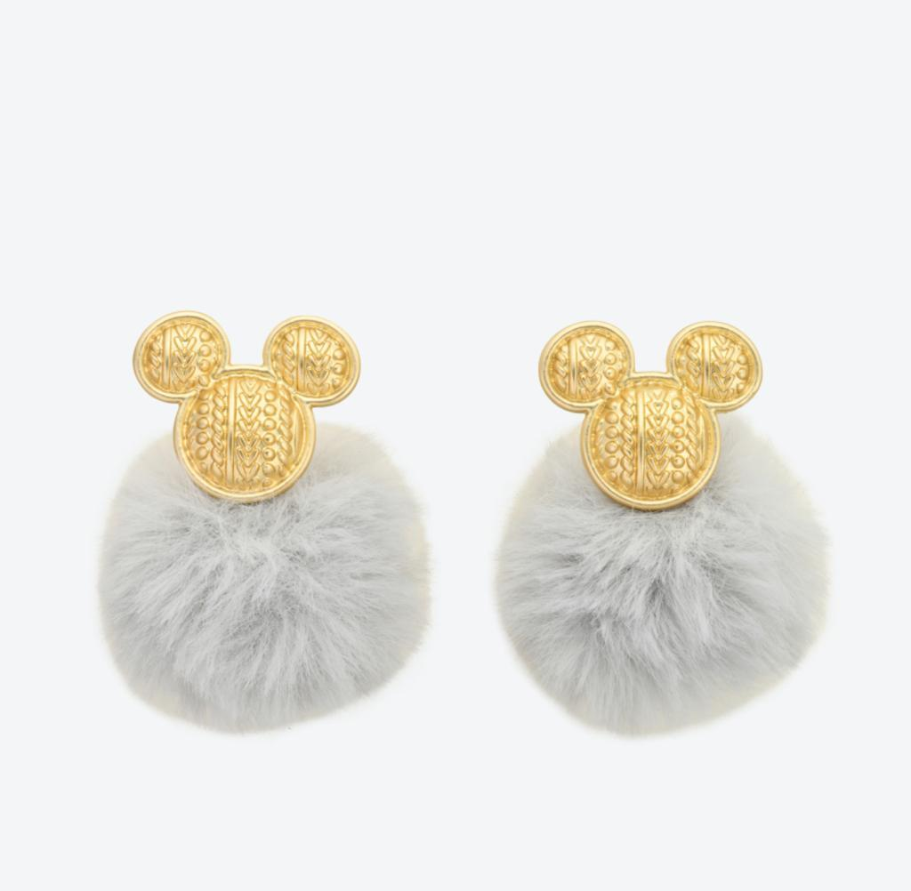 TDR - Pom Pom Ball Earrings x Mickey Mouse (Color: Grey)