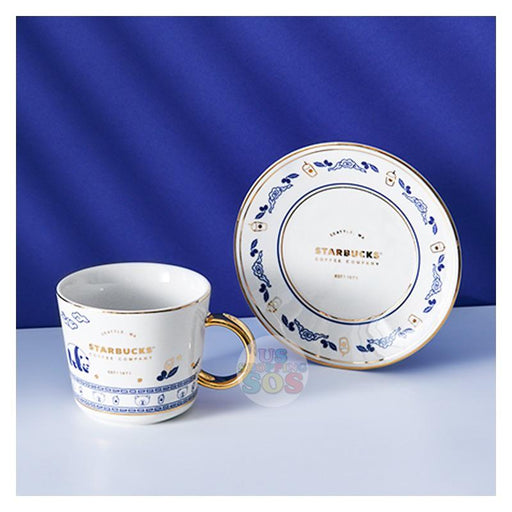 Starbucks China - Qinghua (Blue and White) Style Series - Panda Tea Cup and Saucer Set 320ml