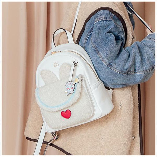 Taiwan Exclusive - Disney Character Fluffy Pocket Backpack - White Rabbit
