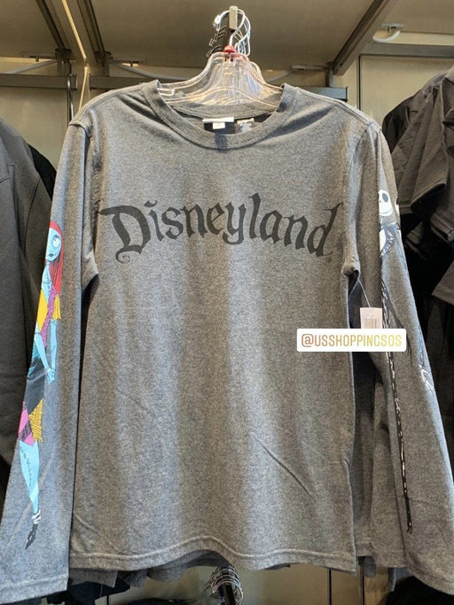 "DLR - The Nightmare Before Christmas Apparel - Jack & Sally on Sleeve ""Disneyland"" Long Sleeve T-shirt (Adult) (Heather Grey)"
