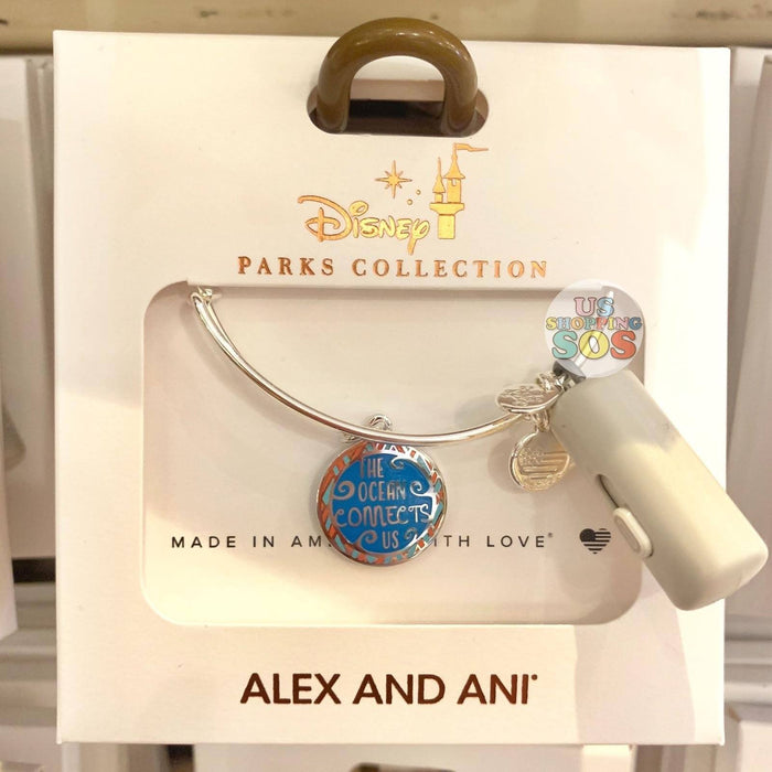 "DLR - Alex & Ani Bangle - Double-Side Charm Moana ""The Ocean Connects Us"""
