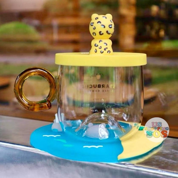 Starbucks China - Summer Safari - Yellow Leopard Bearista Glass Cup Set 414ml