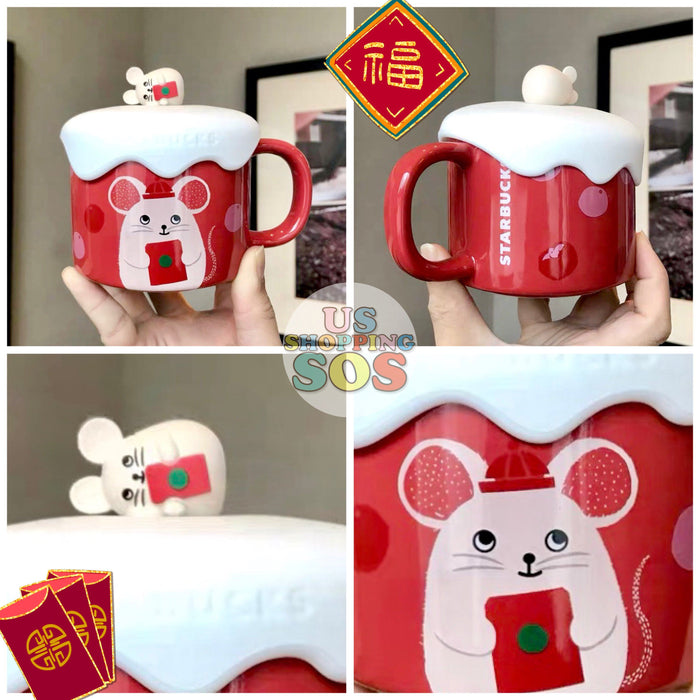 Starbucks China - New Year 2020 Classic Red - 10oz Red Pocket Mouse Mug with Lid