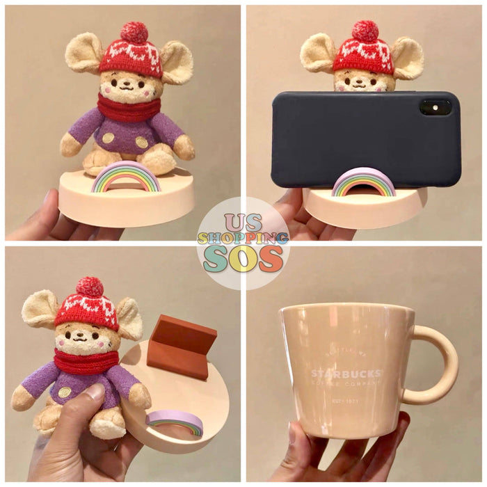 Starbucks China - New Year 2020 Mouse Vacation - 370ml Fluffy Mouse Mug with Lid & Phone Holder