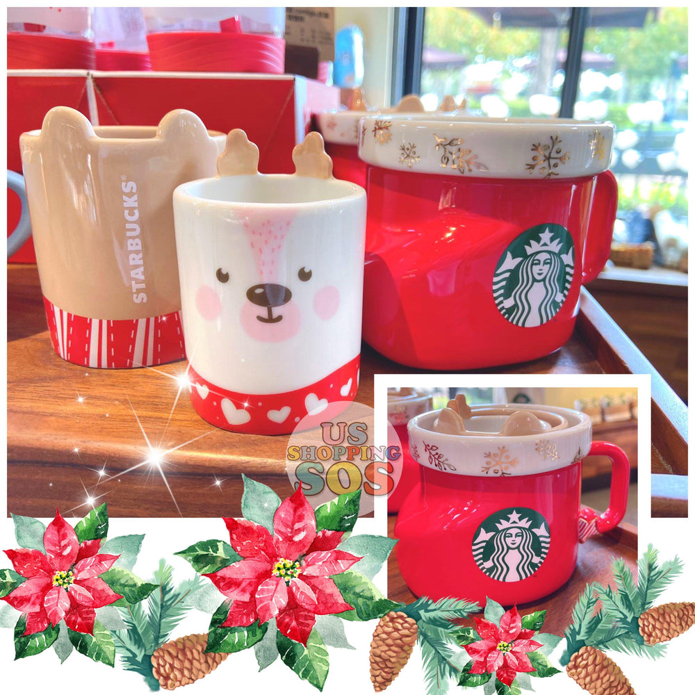 Starbucks China - Christmas Wave - Christmas Stocking & Reindeer 3 Mug Set