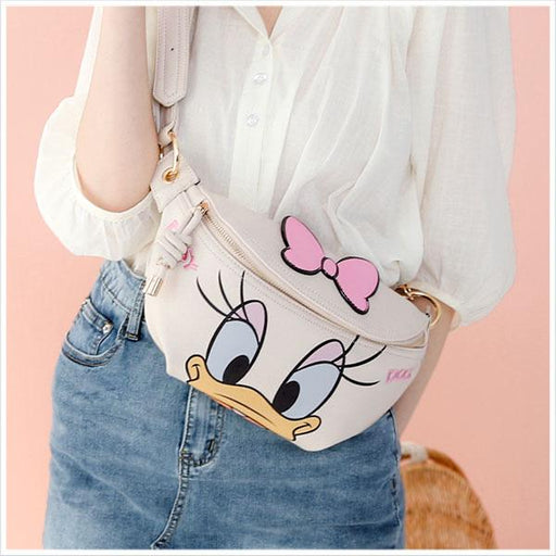 Taiwan Exclusive - Disney Character Face Icon Embroidered Pleather Fanny Pack - Daisy Duck