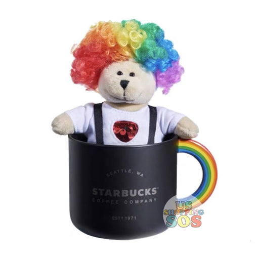 Starbucks China - Valentine 2020 - Rainbow Clown Hair Bearista Plush Keychain with Mug (310ml)