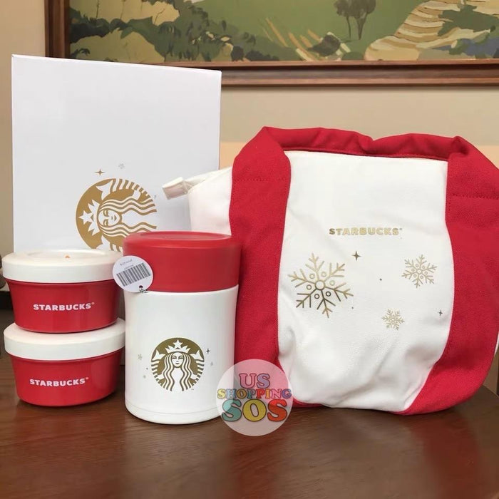 Starbucks China - Christmas Wave - 470ml Thermos Snowflake Lunch Box Set