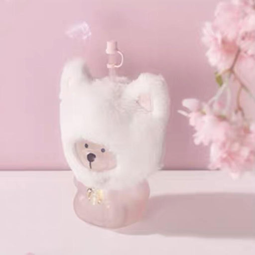 Starbucks China - Sakura 2021 - Fluffy Kitty Hat Pink Bearista Glass Cold Cup 560ml