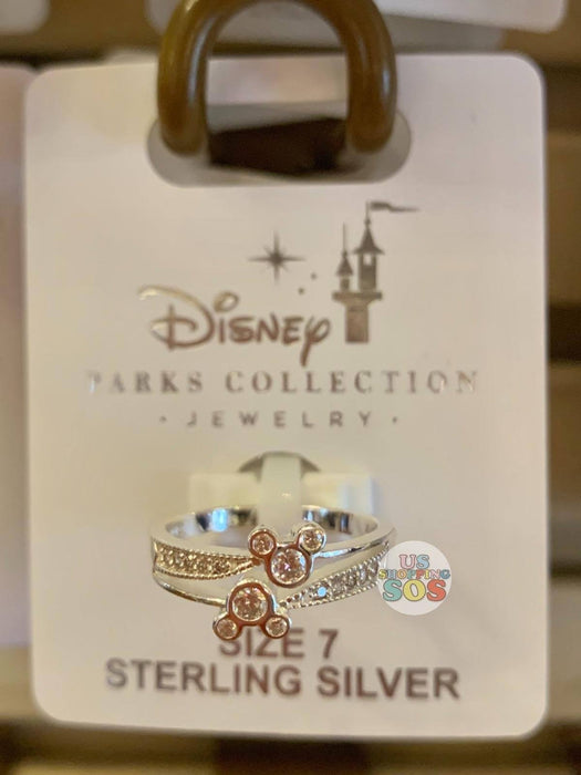 DLR - Disney Parks Jewelry -  Sterling Silver Mickey Double Crystal Icon Ring