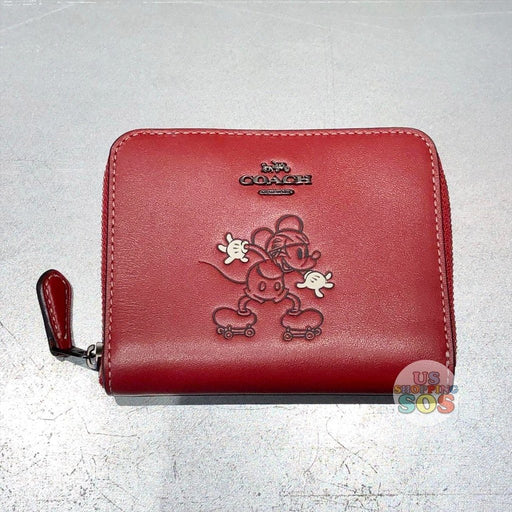 WDW - Coach Hand Painted Mickey Small Round Zip Wallet Red