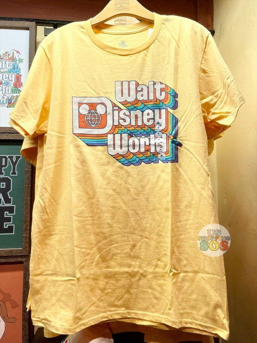 "WDW - Graphic Tee - ""Walt Disney World"" Retro Stack Logo Yellow (Adult)"